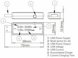 USB Voltmeter, Ammeter, Capacity Meter LCD